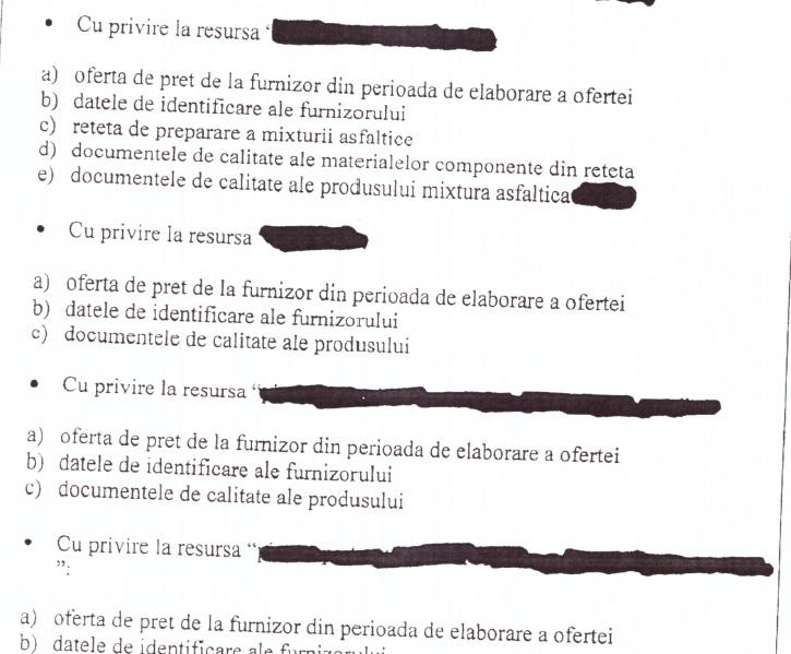 Documentele oferite de Primăria Medgidia, blurate pentru a ascunde detalii