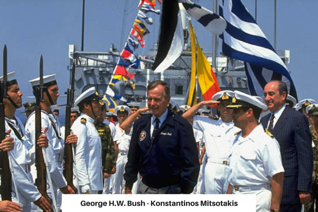 George H.W. Bush si Konstantinos Mitsotakis