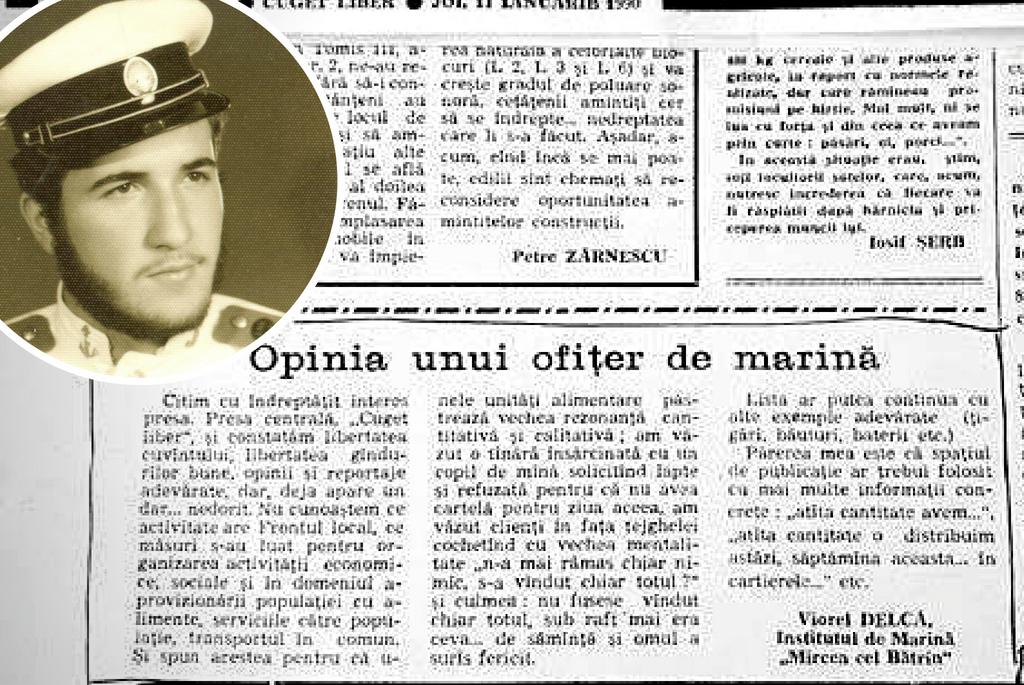 Articol publicat de Viorel Delca in 1990 in ziarul Cuget Liber - Constanta