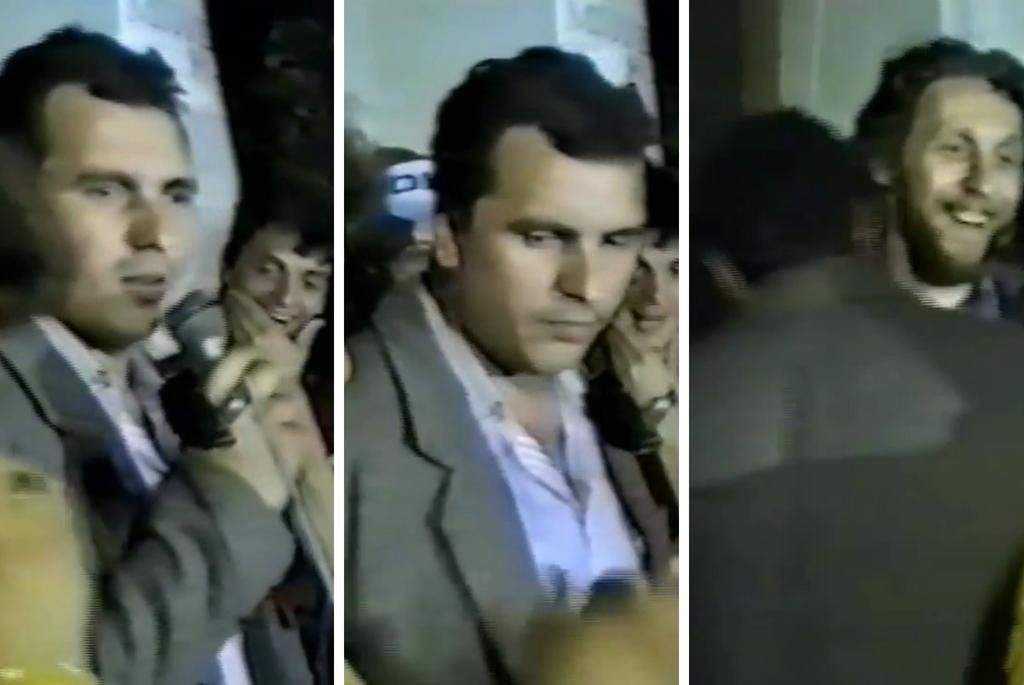 Nicusor Constantinescu in PIata Universitatii alaturi de Marian Munteanu - 1990