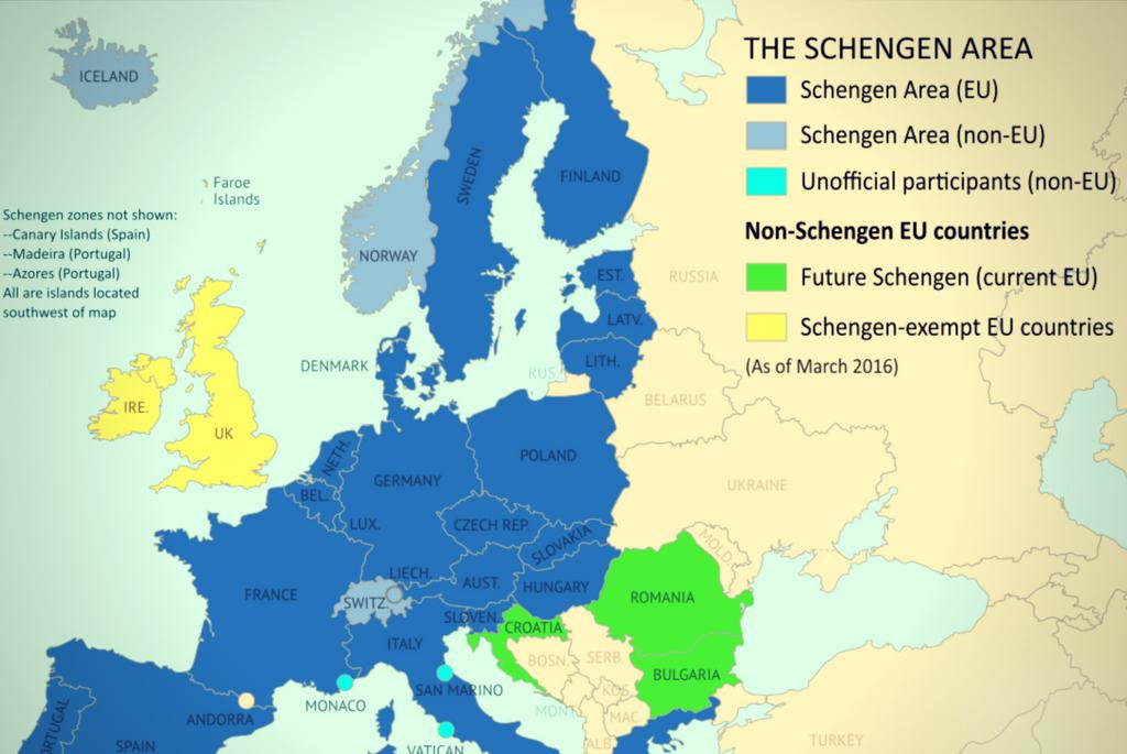 Harta Zonei Schengen - Romania si Bulgaria lasate pe dinafara