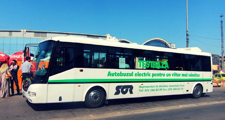 Autobuzul electric testat în 2015 de RATC Constanța - sursa foto Ziua de Constanța