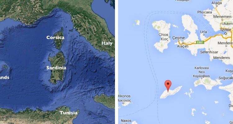 Sardinia, Italia și Ikaria, Grecia