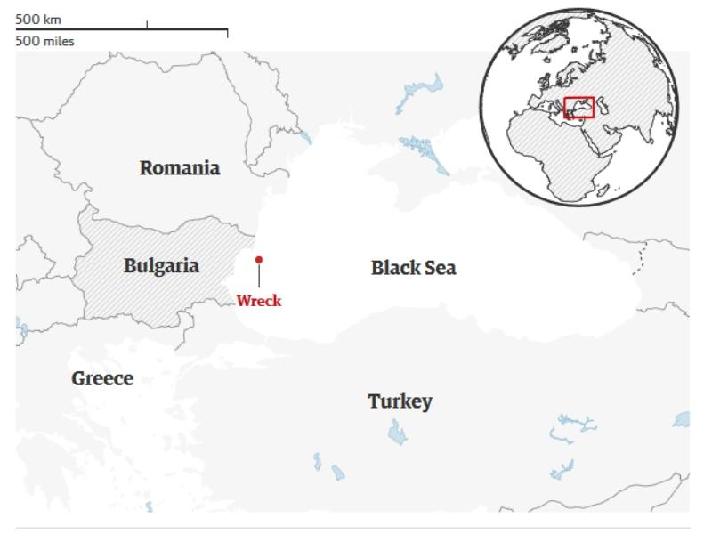 Locul în care a fost descoperită epava - Harta