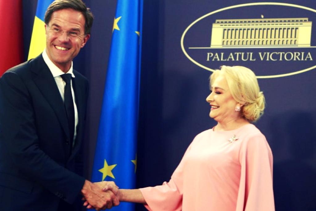 Premierul român Viorica V. Dăncilă alături de premierul olandez Mark Rutte