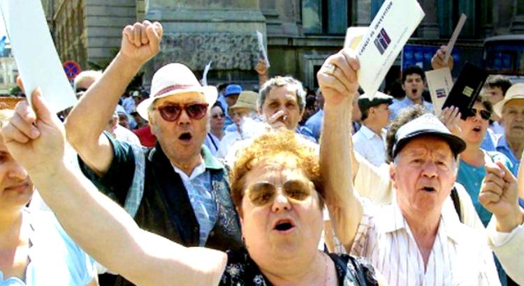 Protest al păgubiților FNI în București