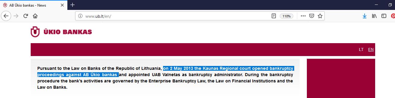 Site-ul oficial Ukio Bankas