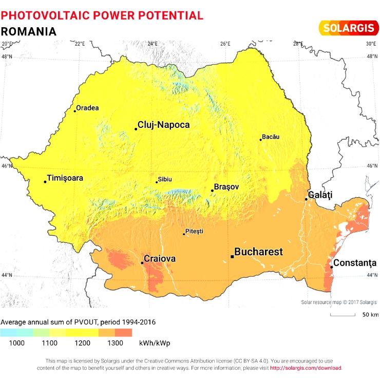Harta - Potențiaul fotovoltaic al României