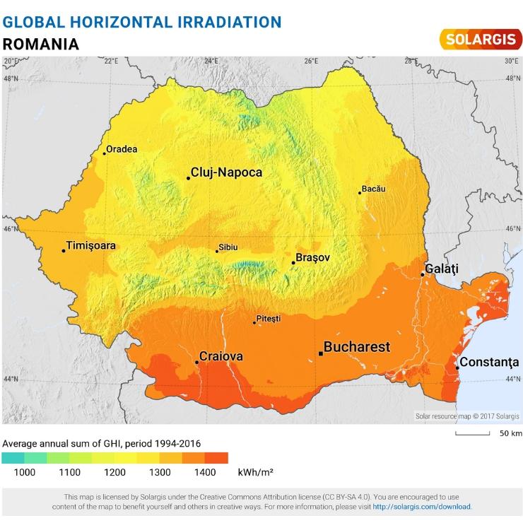 Harta - Radiația orizontală globală a României